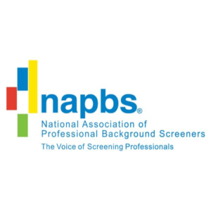 "napbs, National Association of Professional Background Screeners Logo. ""The Voice of Screening Professionals"" text under logo."